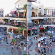Before and After Images of a Crowded Plaza Cleaned Up with the Photoshop Deblurring Tool