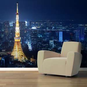 Paris at Night Cityscape Photo Mural Print Custom Wallpaper