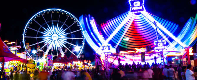 Night Photo of State Fair Rides and attractions where the Arizona State Photography Compeition will be held