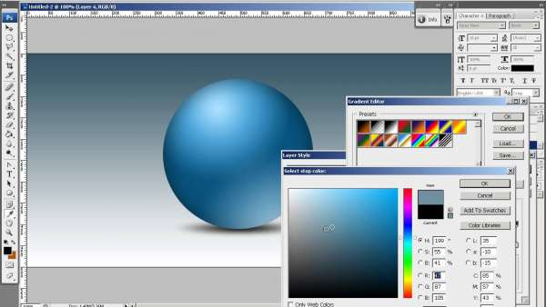 how to make half spheres in photoshop