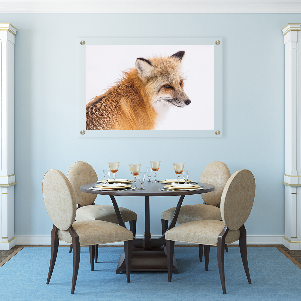 Custom Plexiglass Fox in Dining Room