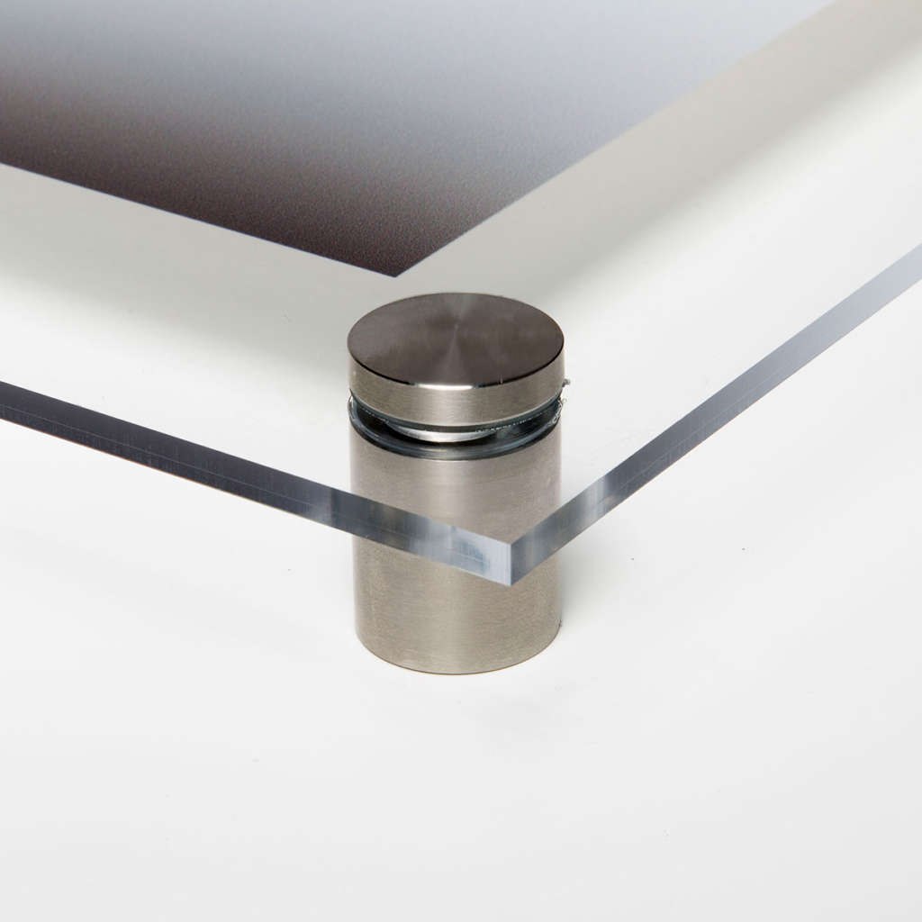 Direct to Acrylic Print Edge Stainless Steel StandOffs Salon Mounting