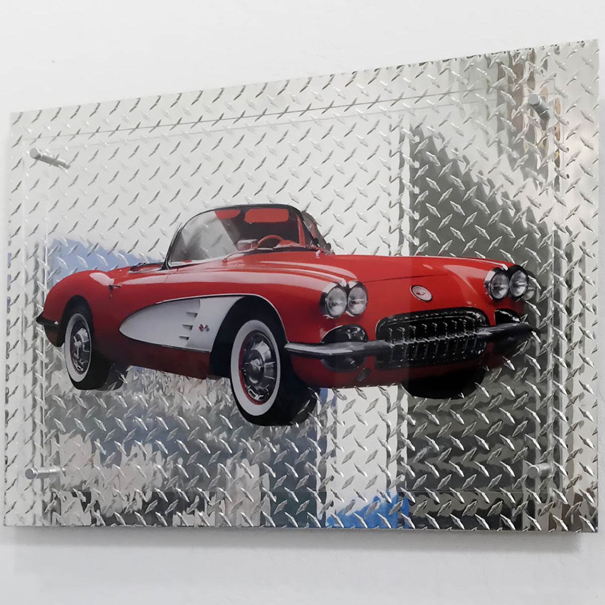 automobile printed direct to acrylic plexiglass mounted diamond plate metal