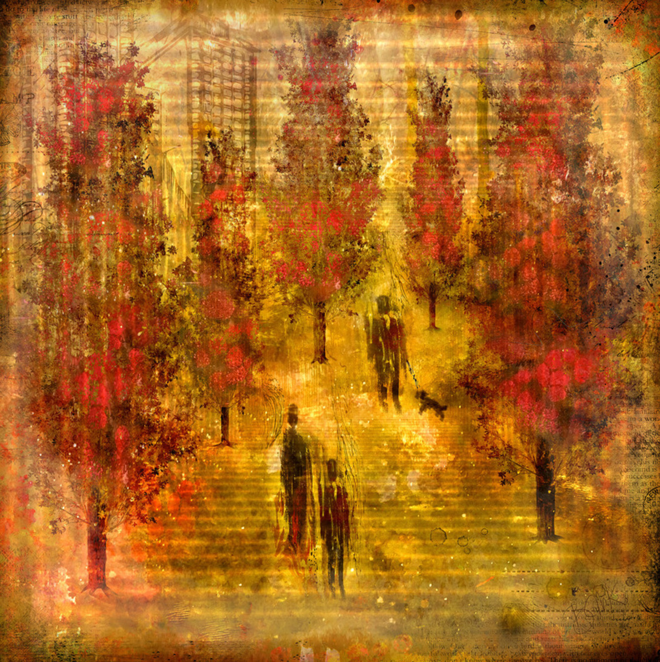 Digital art prints by Barbara Mierau Klein: Walk Among the Red Trees