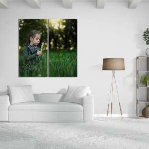 Girl and Dandelion custom photo gifts idea in 2 splits