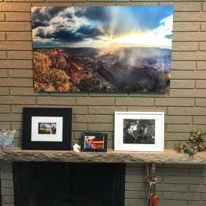 wall art decor prints on fireplace