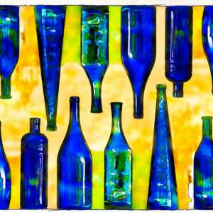 custom print decor yellow bottles artboja