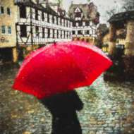custom print decor red umbrella artboja