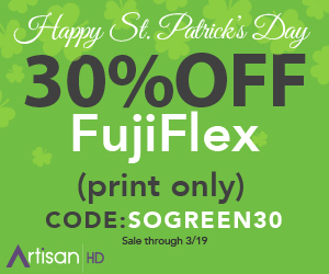 Use Promocode SOGREEN30 to Save 30% on True Photographic Printing Using Light Jet FujiFlex Crystal Archive Silver-Halide Prints During ArtisanHD 's Professional Photo Printing St. Patricks Day Sale