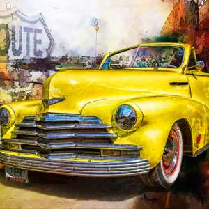 custom print decor yellow car artboja