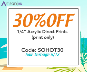 Use Promocode SOHOT30 to Save 30% When You Print Directly to Acrylic During ArtisanHD 's Professional Photo Printing Hot Summer Sale