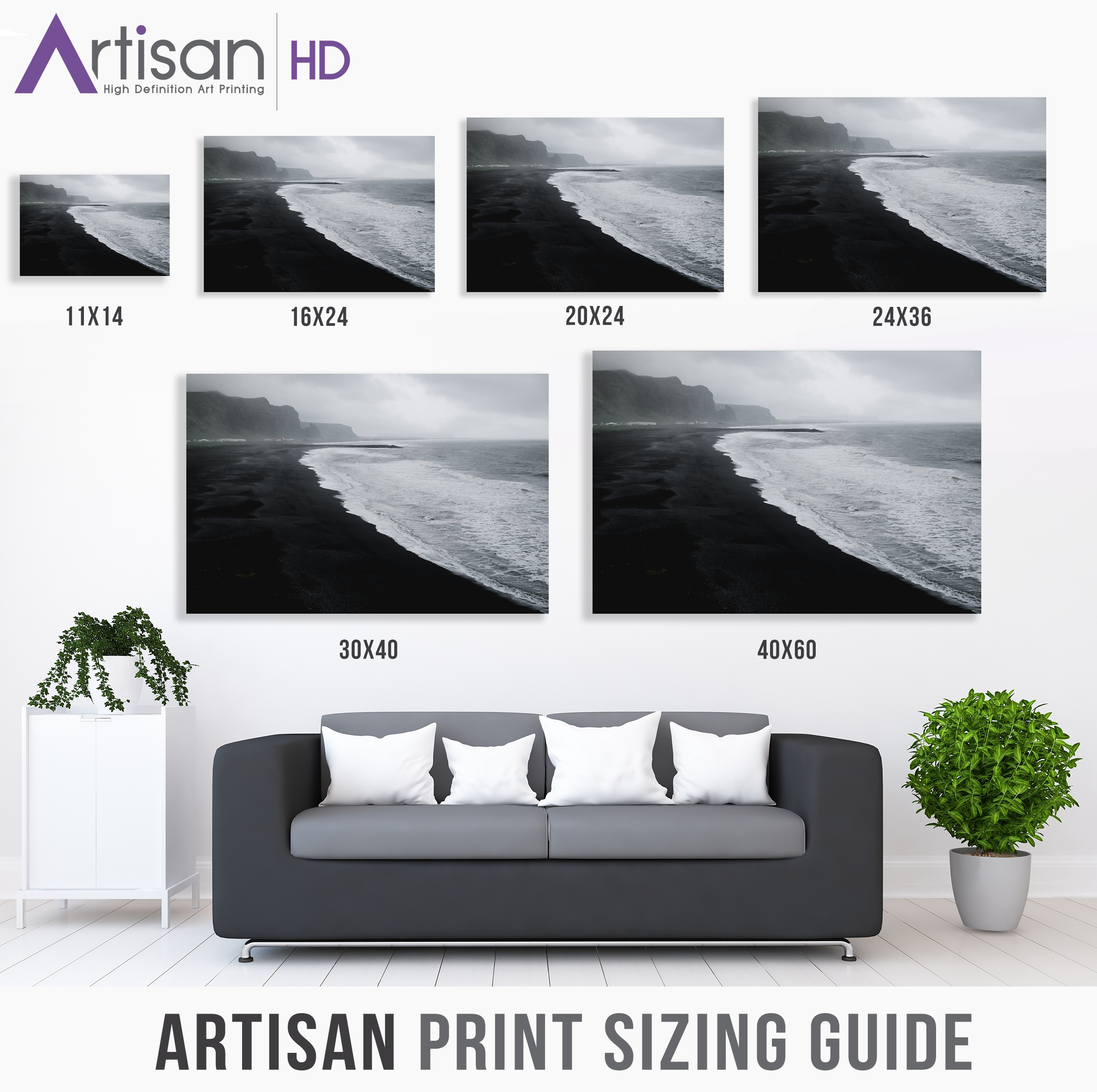 Print Size Guide Ͽ� Esp: Popular Print Sizes: Choosing The Right Size For Your Space