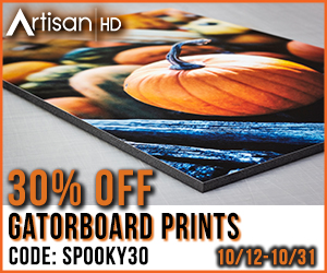 Use Promocode SPOOKY30 to Save 30% When You Print Directly to GatorBoard During ArtisanHD 's Professional Photo Printing Halloween Sale