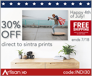 Use Promocode INDI30 to Save 30% When You Print Directly to Sintra During ArtisanHD 's Professional Photo Printing 4th of July Sale