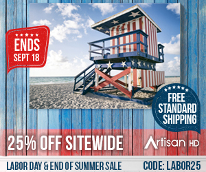 Checkout with Coupon Code LABOR25 to Take 25% Off ALL Professional Printing from ArtisanHD.com Site-Wide During ArtisanHD's Professional Photo Printing Labor Day and End of Summer Sale
