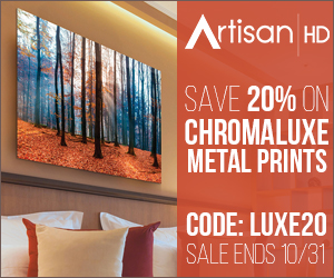 Use Promocode LUXE20 to Save 20% When You Print Directly to ChromaLuxe During ArtisanHD 's Professional Photo Printing October Sale