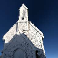 vacation pictures of church in Germany covered in snow that froze sideways